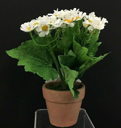 """Small White Daisy Flower in Clay Pot~8/"""" T Silk//Artificial"""