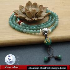 Lotusmind Green Aventurine 108 Prayer beads Mala  Mani Mantra pendant