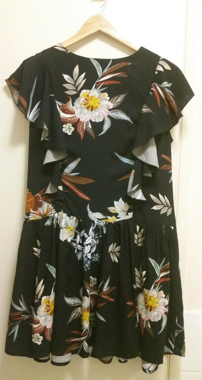 NEW Floral Drop waist dress with flounce, size 12-14