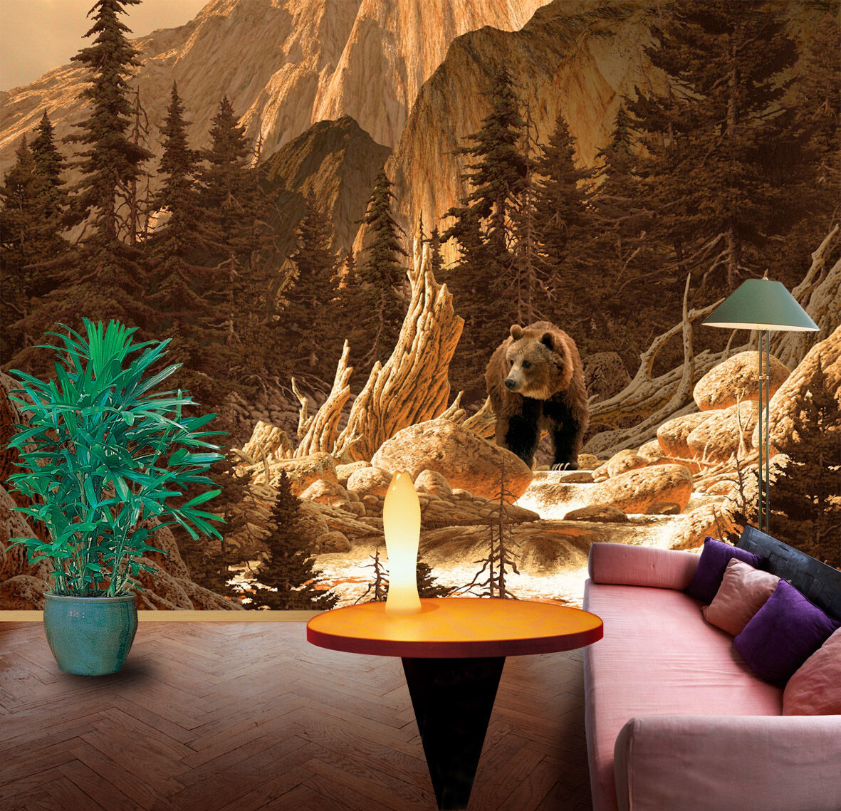 3D Bear Mountains trees wall Paper Print Decal Wall Deco Indoor wall Mural