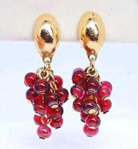 Vintage-Czech-Garnet-glass-grape-cluster-clip-earrings-A20