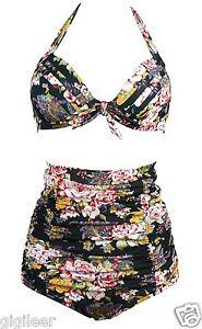 Gigileer-Bikini-High-Waist-Blumen-Retro-Damen-Bademode-Schwarz-42-44-46-48-50-de