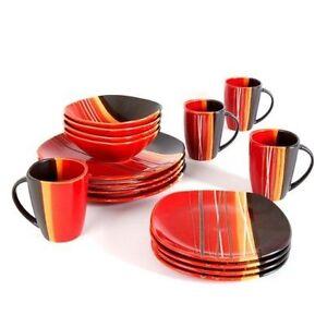 Stock photo  sc 1 st  eBay & Home Trends 61590.16rm Bazaar Red 16-piece Square Dinnerware Set | eBay