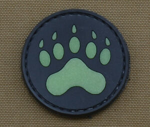 PVC-Rubber-Glow-in-the-Dark-Patch-034-Bear-Footprint-034-with-VELCRO-brand-hook