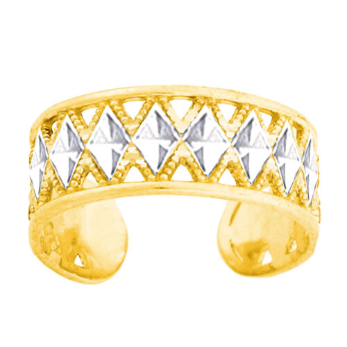14K White And Yellow Gold Diamond Cut Millgrain Adjustable Toe Ring 6mm Width