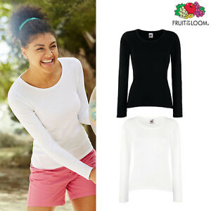 Fruit-of-the-Loom-Women-039-s-Lightweight-Long-Sleeve-Cotton-Tee-Casual-Lady-fit-Top