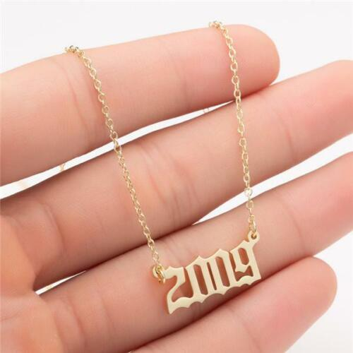 1PC Special Date Year Number 1980-2020 Collares Pendant Necklace Birthday Gift