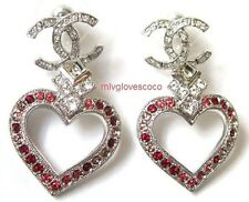 AUTHENTIC CHANEL SILVER RED PINK HEART CRYSTALS CC LOGO EARRINGS NEW 2016