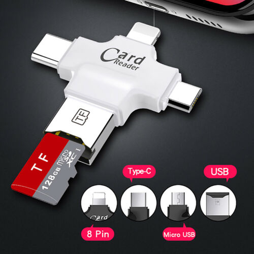Read card 4 in 1 Micro USB Type C OTG Micro SD TF for iPhone Android PC Mac