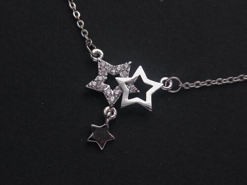 Echt Edelstahl Kette Halskette Stern Sterne in Silber oder Rose Gold