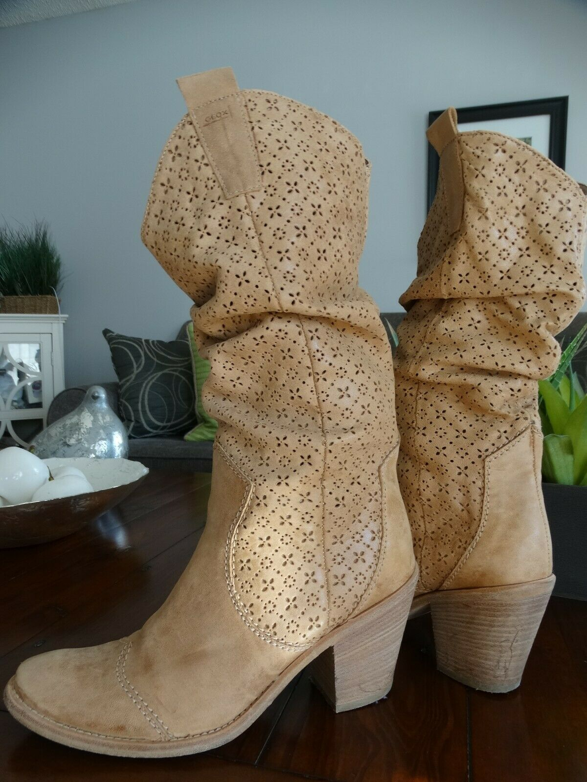 GEOX Respira Leather slouch Boots 39