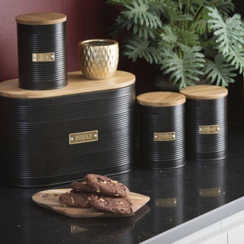Typhoon Black Ribbed Tea Coffee Sugar Set Canister Bread Bin Bread Crock