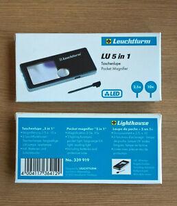 Taschenlupe LU 5 in 1, LED, Lupe, 2,5 und 10-fach,   OVP