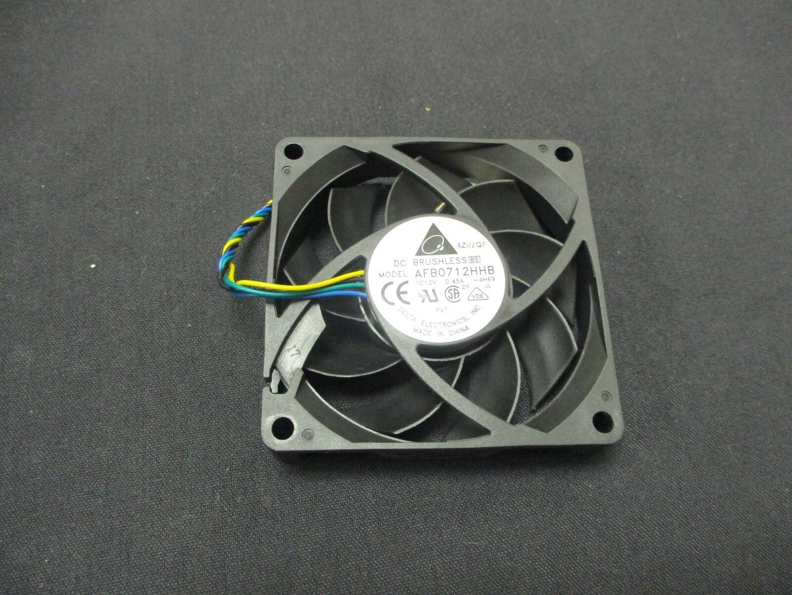 Delta 12v DC 0.45a 70x15mm Fan AFB0712HHB-S57V HP Brushless 3-Wire 4-Pin