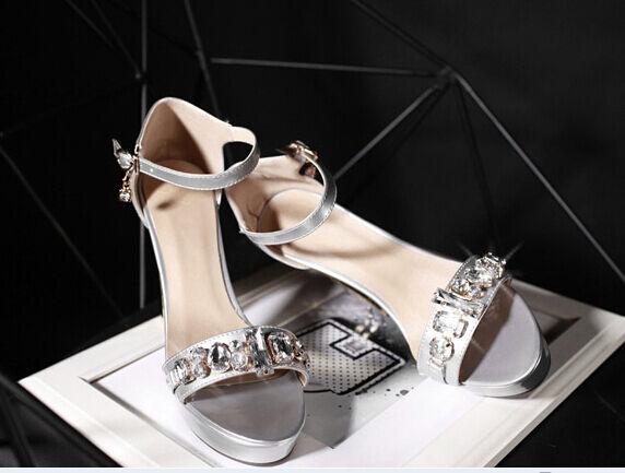 Último gran descuento Zapatos zapatillas zuecos sandalias talón plataforma 10.5 cm plata cómodo 9308