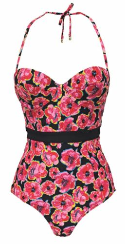 Ladies Top shop Floral Halter Neck Underwire Padded One Piece Swimsuit Costume