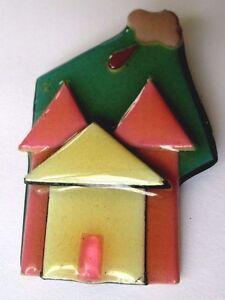 Broche Bijou Vintage Unique Année 80 Maison De Couleur Pastel Sous Vernis 372