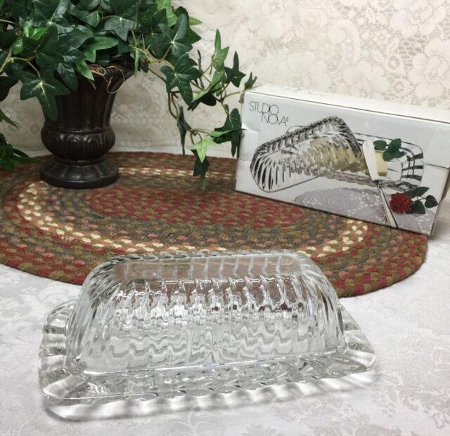 Covered Butter Dish Clear Glass Single Stick Studio Nova Terina