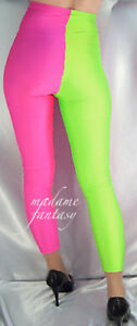 029db9d2754e8 two tone high waisted shiny spandex leggings neon pink green s m l xl ...
