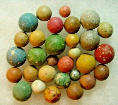 Lot of 10 Rare Revolutionary War Era Clay Marbles Very colorful Bennington
