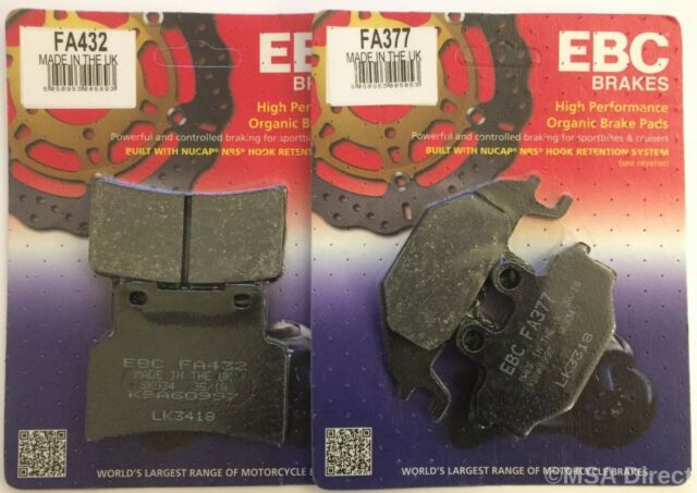 Yamaha YZFR125 (2014 to 2018) EBC Organic FRONT and Rear Disc Brake Pads 2 Sets