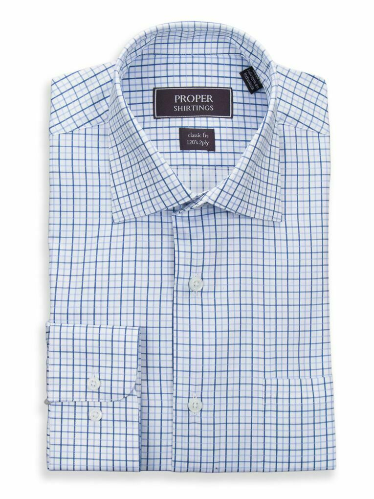 Mens 17 36 37 Classic Fit Weiß With Light Blau & Turquoise Check 120's 2PLY ...