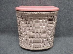 Antique Child 39 S Nursery 12 Tall Wicker Clothes Hamper Wooden Base Lid Pink Ebay