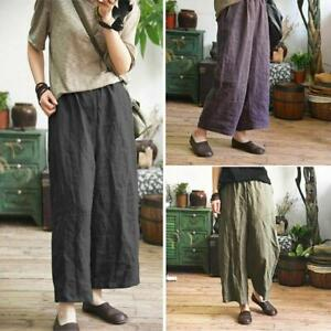 Retro-Women-039-s-Summer-Cotton-Linen-Flax-Loose-Ninth-Pants-Casual-Trousers-S-5XL