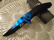 """Mtech Ballistic Assisted Open Black Blue Titanium Pocket Knife A899BL 8 1/4"""" Op"""
