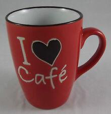 Kaffeebecher 340 ml Kaffeepott Tasse Becher Pott I love Cafe Herz Rot Neu