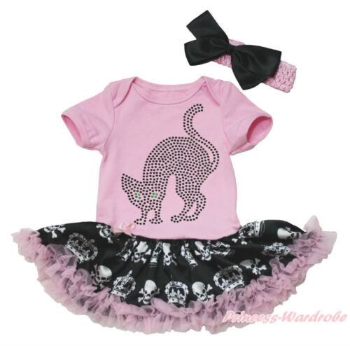 Rhinestone Cat Halloween Pink Bodysuit Girls Crown Skull Baby Dress Set NB-18M