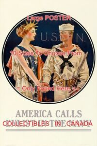 WWI-1917-Lady-Liberty-U-S-N-Enlist-In-The-Navy-POSTER-10-Sizes-18-034-4-5-FT