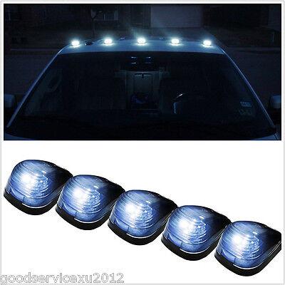 5 Pcs 12V Smoke Lens Car Pickup Exterior Top Roof LED Lights Signal Lamps White