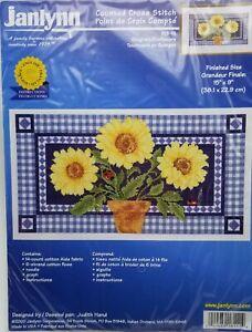 Counted-Cross-Stitch-Gingham-Sunflowers-Ladybugs-Janlynn-18-111-15x9-inch