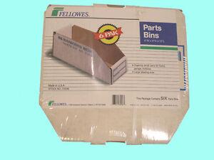 4 X 4 X 12 BIN BOXES WHITE CORRUGATED  6 PARTS BIN   aaaboxman