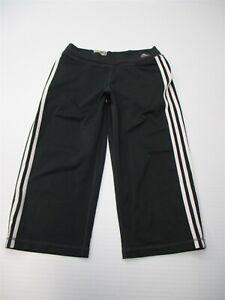ADIDAS-Women-039-s-Size-S-CLIMALITE-Stretch-Gray-Three-Stripe-Wide-Leg-Capri-Pants