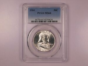 1960-PCGS-MS64-50C-Franklin-Half-Dollar-Uncirculated-Certified-Coin-EC1221