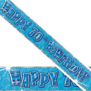 12Ft-Long-70th-Blue-Birthday-Holographic-Banner-Party-Decorations-Party-Supply