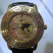 MIDO WORLD TIMER MEN'S WATCH QUARTZ GOLD DIAL SAPPHIRE LEA SPORTS M52003124 NEW