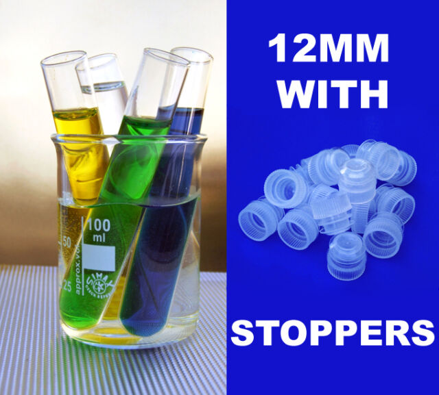 Fifteen New Glass Test Tubes 75x12mm with PE Stoppers