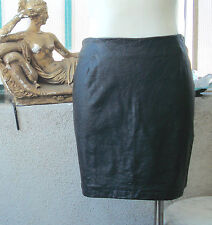 FRENCH Designer TARK'1 Faux Leather Mini SKIRT ~ Black ~ Size T-3