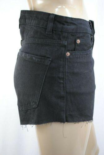 Womens New Look Denim Mom Shorts Distressed Fray Black Size 8 E36 Ladies