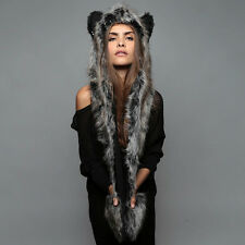 NEW SpiritHoods SPIRIT HOOD GREY WOLF Full Length Animal Faux Fur Hat