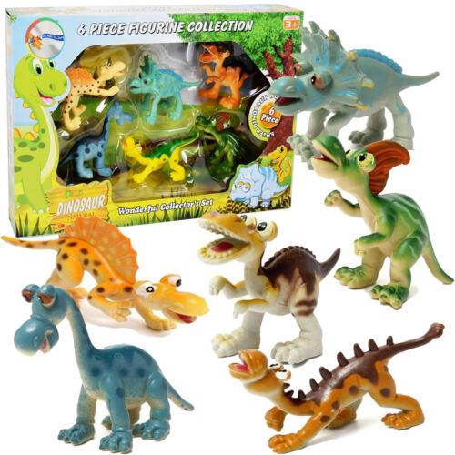 6 Dinosaurier Figuren Spielset Safari Tiere Dschungel Bauernhof Dino Aktion