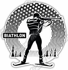 "Biathlon Cross-Country Ski Race Rifle Car Bumper Vinyl Sticker Decal 5/""X4/"""
