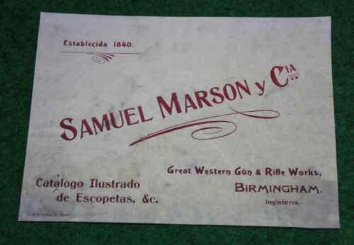 Samuel Marson Gunmaker Birmingham Gun Case carta etichetta Pistola Maker
