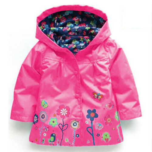 Baby Girl Kid Winter Hooded Rain Coat Jacket Animal Flower Windproof Outwear Top