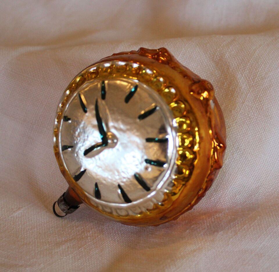 Antik glas julepynt, ur og musling