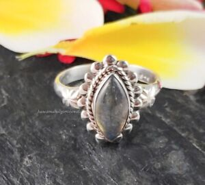 Sizable Black Labradorite Handmade Jewellry 925 Sterling Silver Plated 4 Grams Ring Size 8.5 US Ethnic