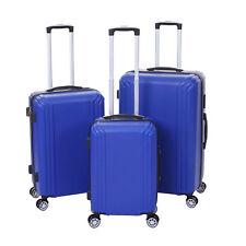 3er Set Koffer MCW-D54b, Reisekoffer Hartschalenkoffer Trolley, blau Premium